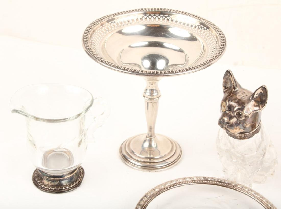 STERLING SILVER GLASS DOG SHAKER COMPOTE & MORE - 2