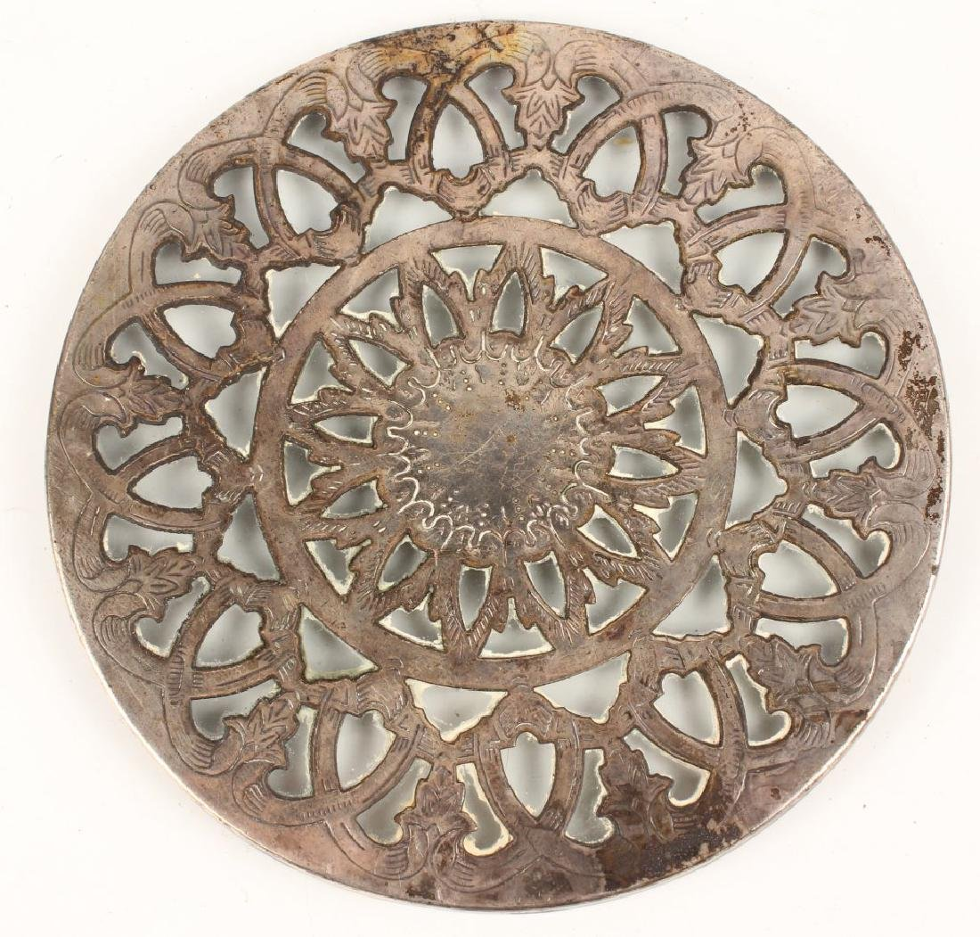 SILVER PLATED GLASS TRIVET