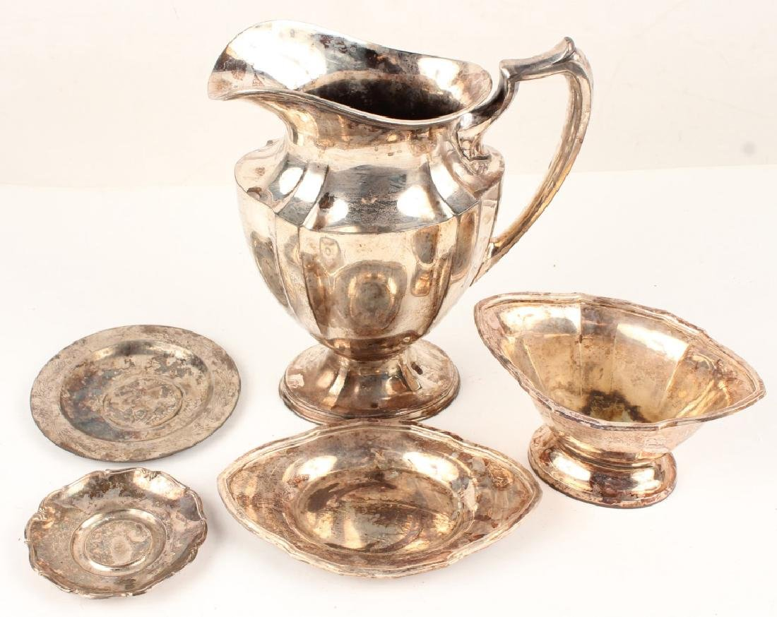 SILVER PLATED PITCHER COMPOTE & TRAYS