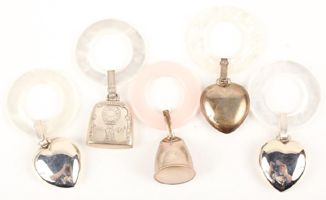 5 STERLING SILVER BABY RATTLES