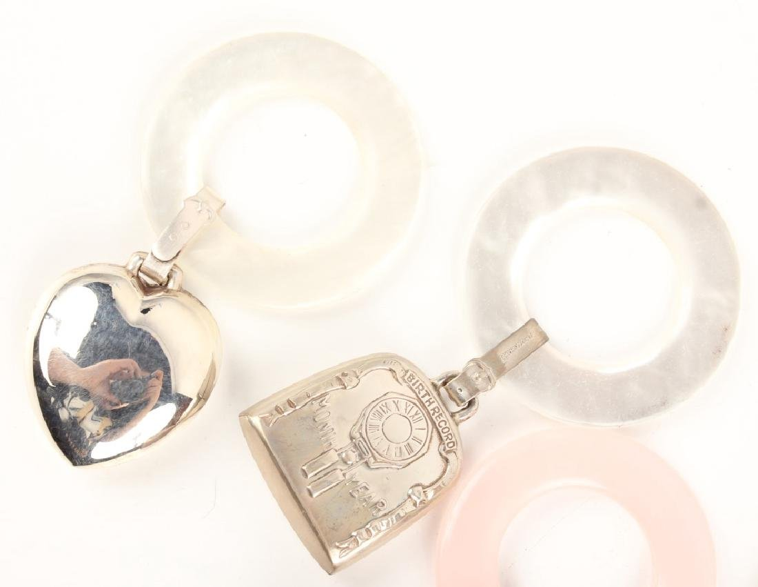 5 STERLING SILVER BABY RATTLES - 2