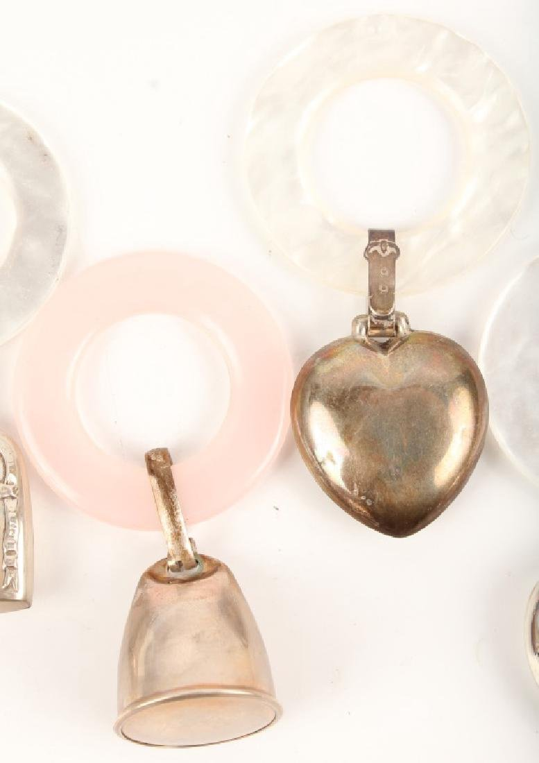 5 STERLING SILVER BABY RATTLES - 3