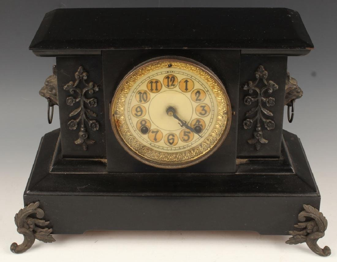 BLACK SLATE MANTLE CLOCK