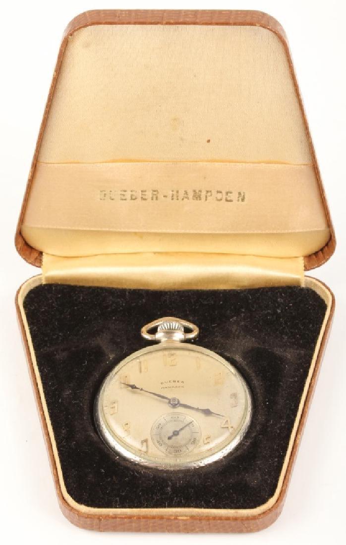 DUEBER HAMPDEN 10K GOLD FILLED POCKETWATCH W CASE