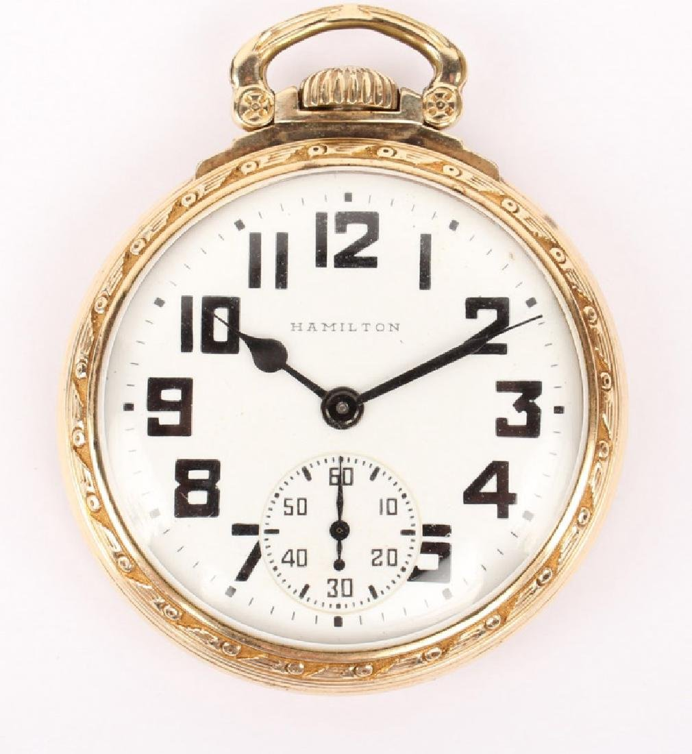 HAMILTON 10K GOLD FILLED RAILROAD POCKET WATCH