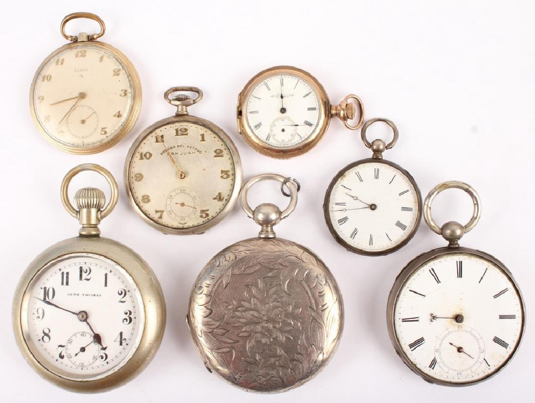 LOT OF 7 ANTIQUE POCKETWATCHES FOR PARTS OR REPAIR
