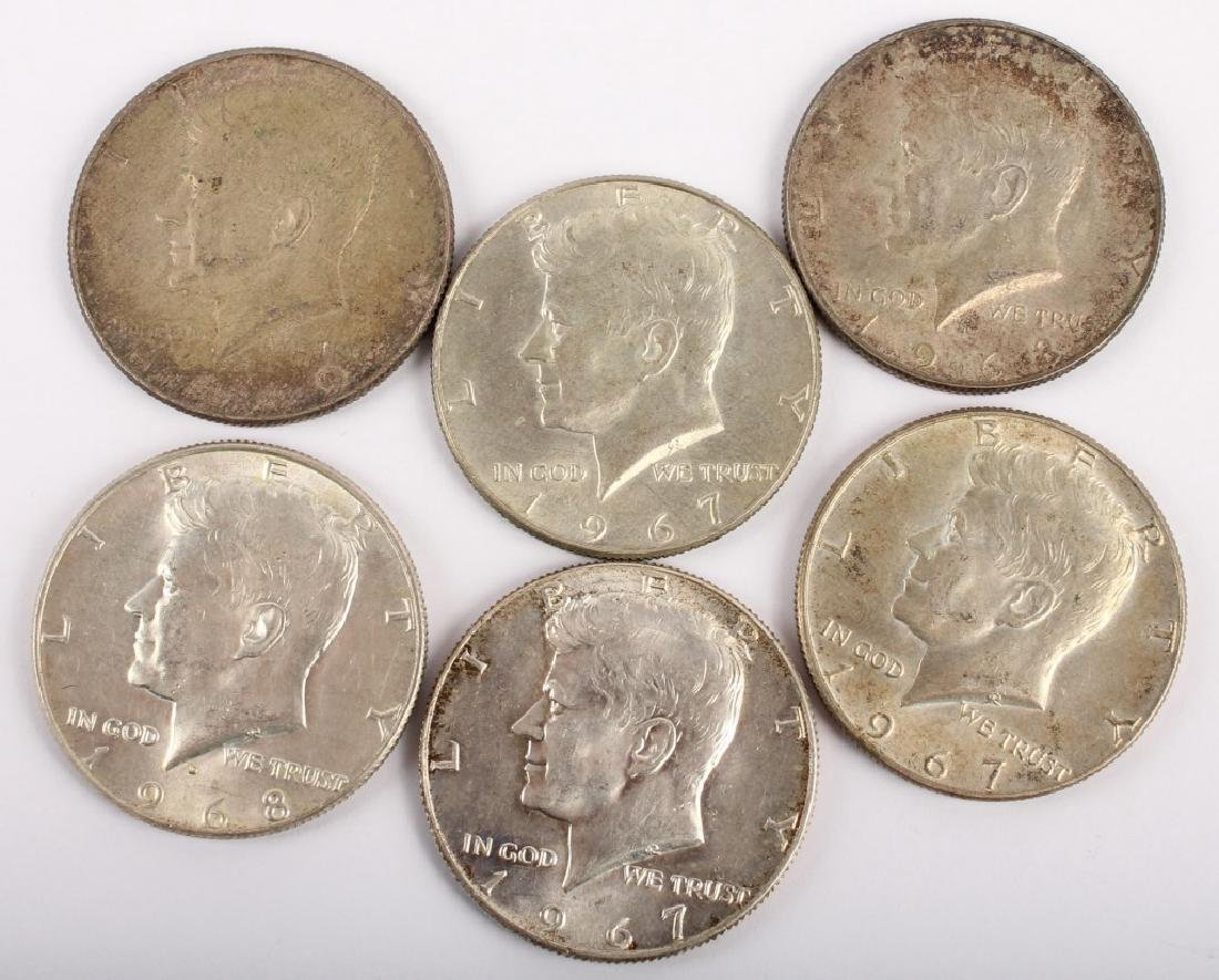 SIX 40% SILVER KENNEDY HALF DOLLARS
