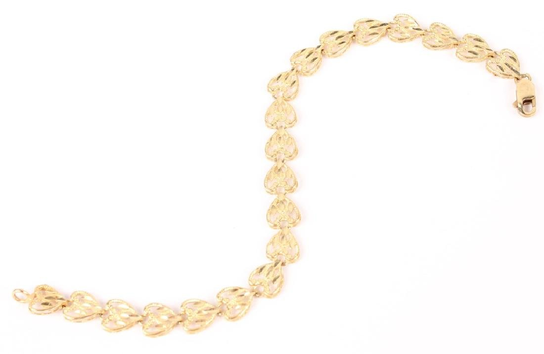 10K YELLOW GOLD HEART LINK BRACELET
