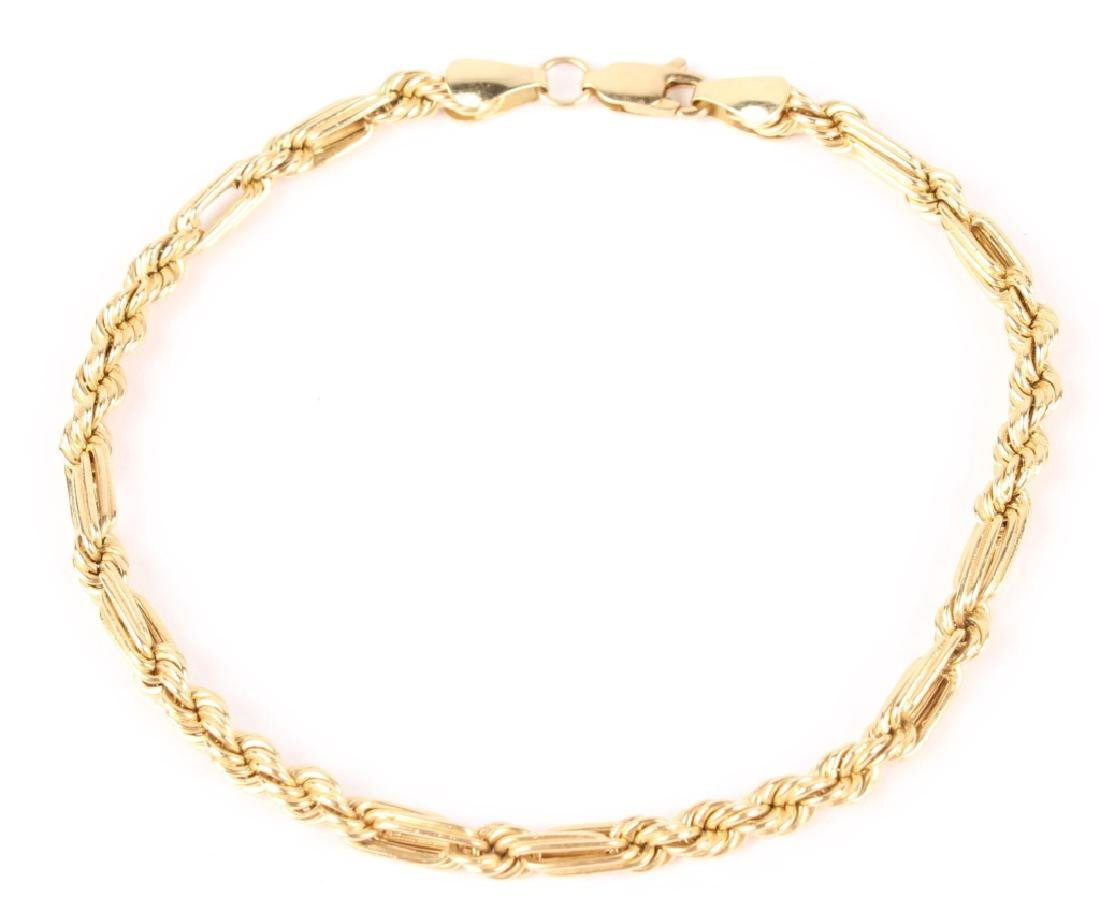 14K YELLOW GOLD TWISTED CHAIN BRACELET