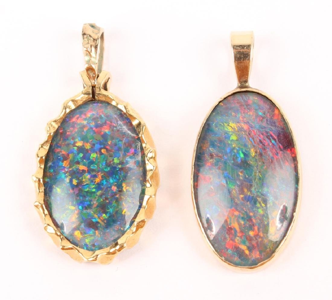 PAIR OF 10K GOLD FOIL BACK SIMULATED OPAL EARRINGS