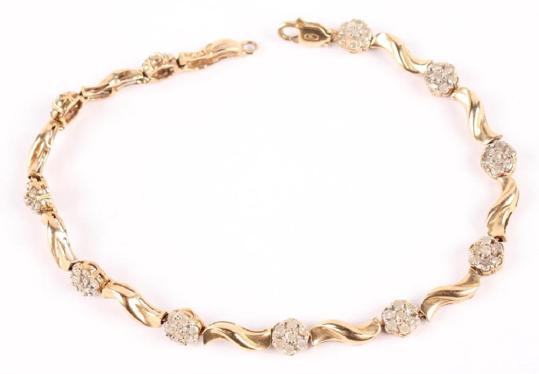 LADIES 10K YELLOW GOLD DIAMOND FASHION BRACELET