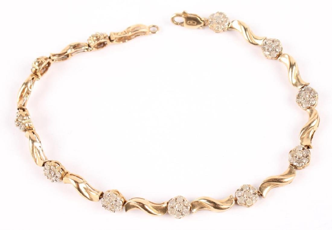LADIES 10K YELLOW GOLD DIAMOND FASHION BRACELET