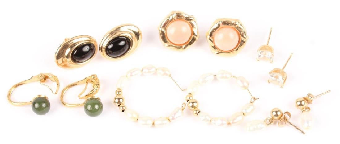 SIX PAIRS OF ASSORTED 10K GOLD GEMSTONE EARRINGS