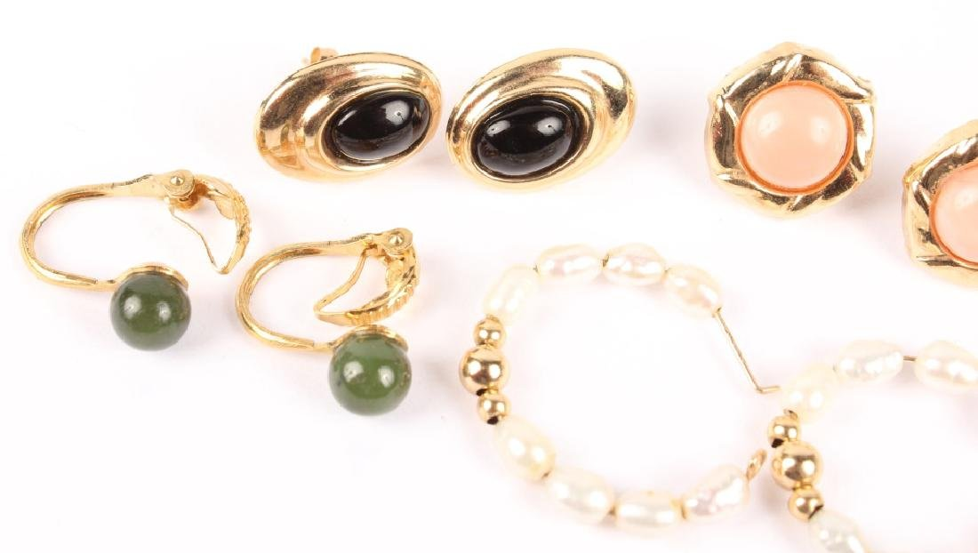 SIX PAIRS OF ASSORTED 10K GOLD GEMSTONE EARRINGS - 2