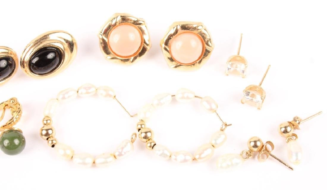SIX PAIRS OF ASSORTED 10K GOLD GEMSTONE EARRINGS - 3