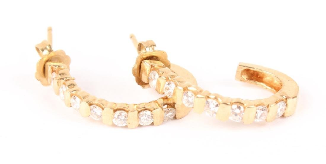 14K YELLOW GOLD DIAMOND SEMI HOOP EARRINGS