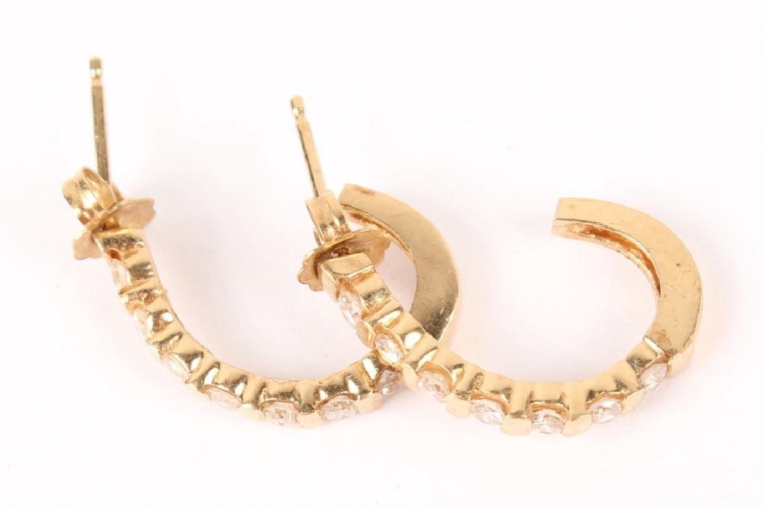14K YELLOW GOLD DIAMOND SEMI HOOP EARRINGS - 2