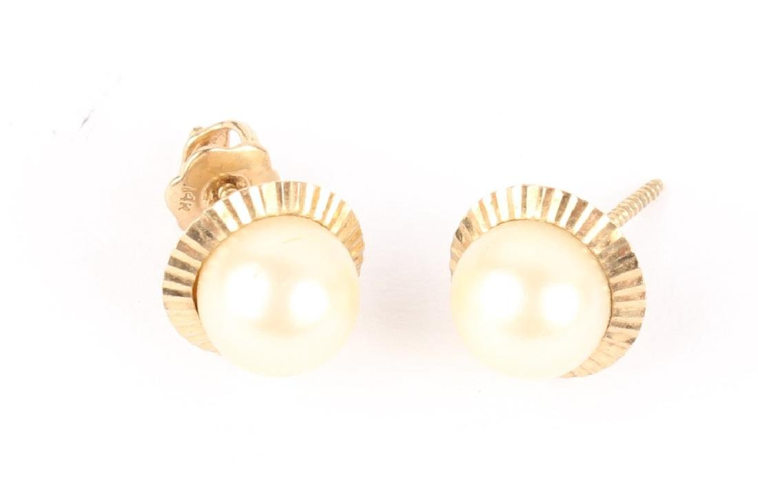 LADIES 14K YELLOW GOLD PEARL EARRINGS