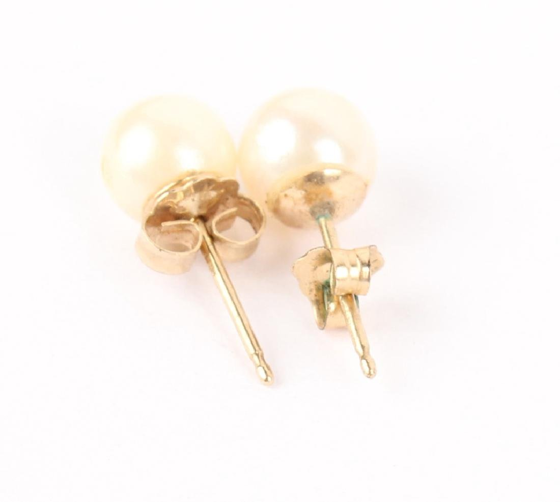 LADIES 14K YELLOW GOLD PEARL EARRINGS - 2