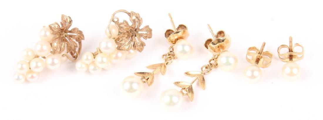 (3) LADIES 14K YELLOW GOLD PEARL EARRINGS