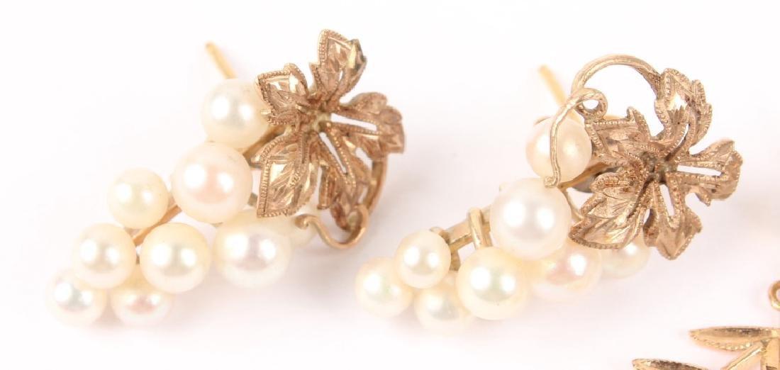(3) LADIES 14K YELLOW GOLD PEARL EARRINGS - 2
