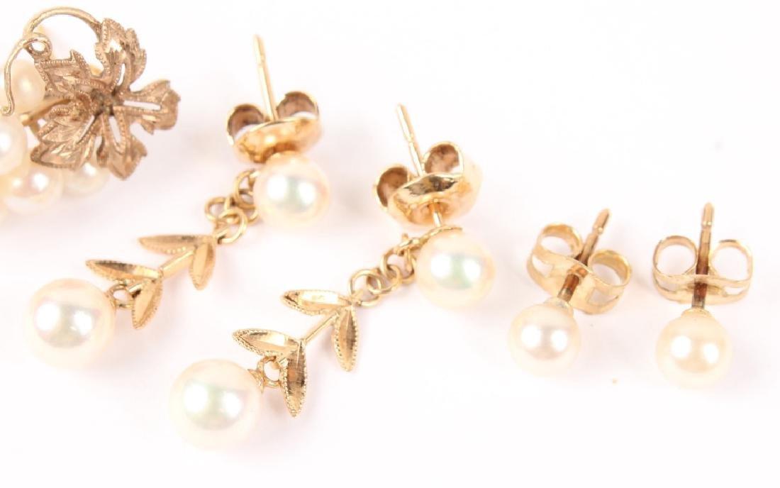 (3) LADIES 14K YELLOW GOLD PEARL EARRINGS - 3