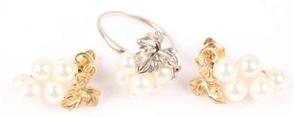 LADIES 14K YELLOW GOLD PEARL EARRINGS & RING