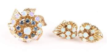 LADIES 14K YELLOW GOLD OPAL EARRINGS  RING