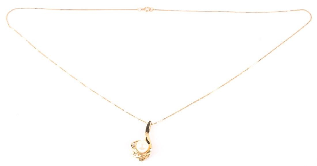 LADIES 14K YELLOW GOLD PEARL DIAMOND NECKLACE - 2