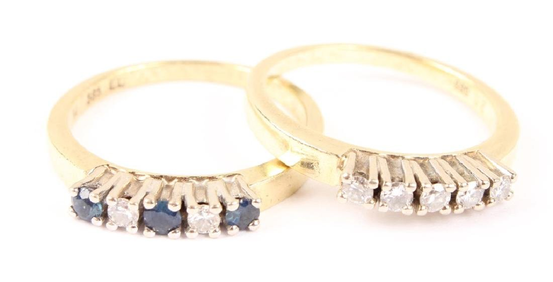 (2) LADIES 14K YELLOW GOLD DIAMOND BANDS
