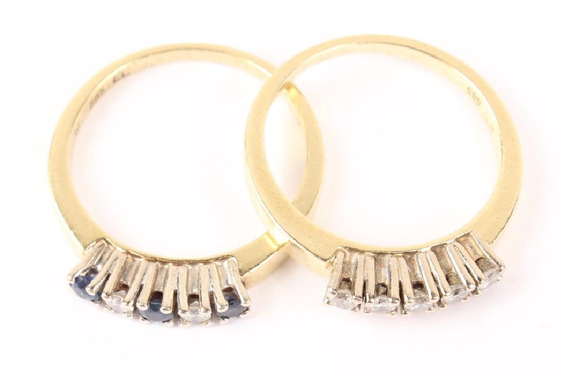 (2) LADIES 14K YELLOW GOLD DIAMOND BANDS - 2