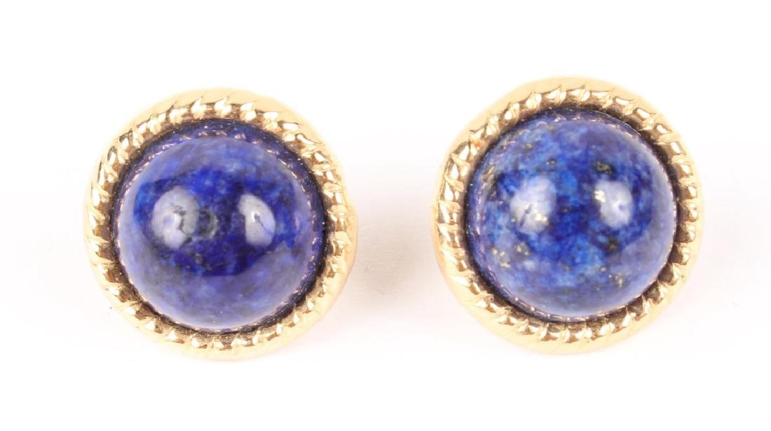 LADIES 14K GOLD LAPIS EARRINGS