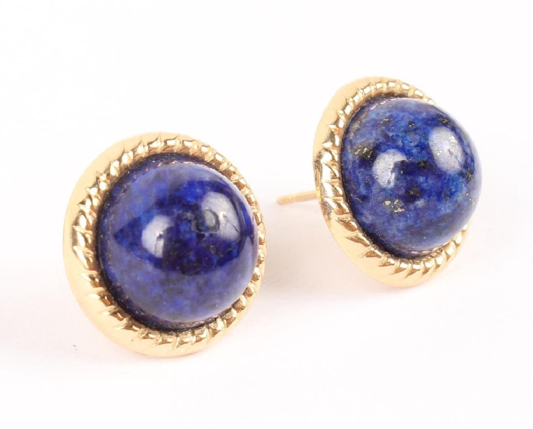 LADIES 14K GOLD LAPIS EARRINGS - 2