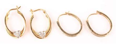 LADIES 10K  14K YELLOW GOLD DIAMOND EARRINGS