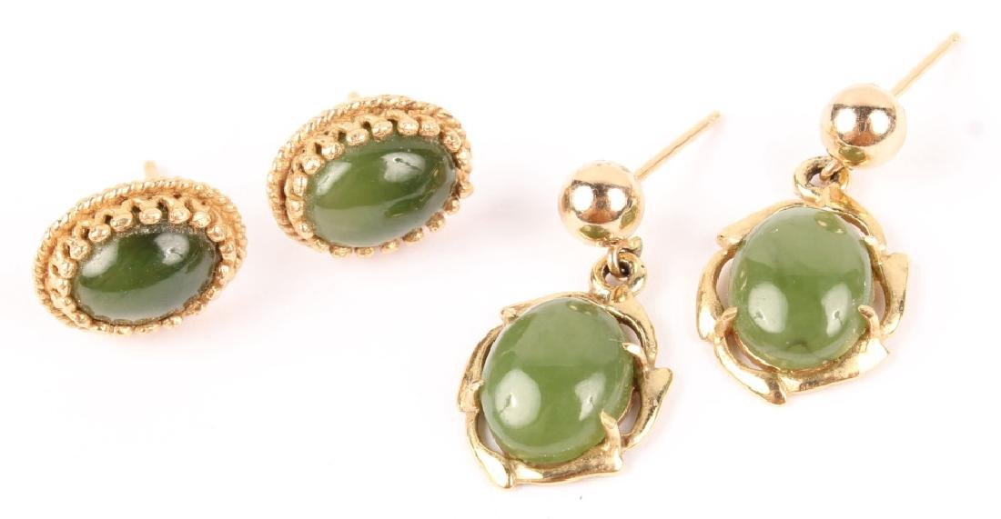 2 PAIRS OF LADIES 14K YELLOW GOLD JADE EARRINGS