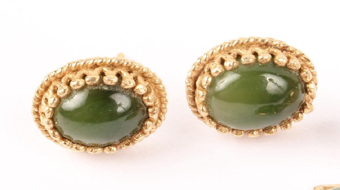 2 PAIRS OF LADIES 14K YELLOW GOLD JADE EARRINGS - 2