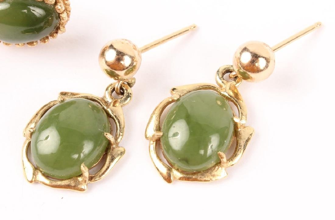 2 PAIRS OF LADIES 14K YELLOW GOLD JADE EARRINGS - 3