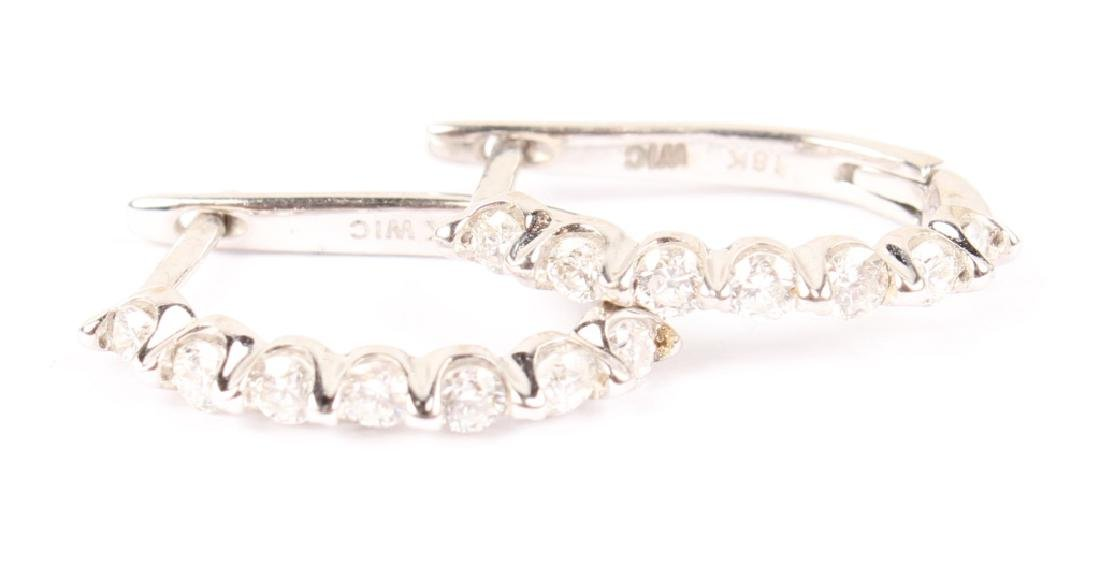 LADIES 18K WHITE GOLD HOOP DIAMOND EARRINGS