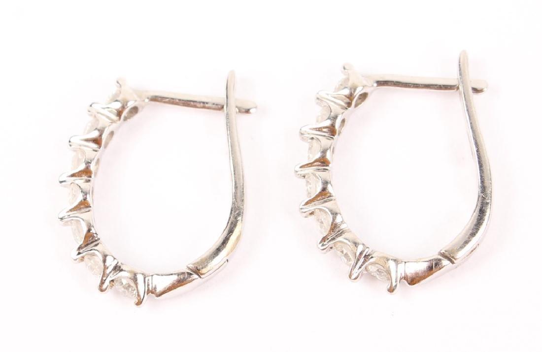 LADIES 18K WHITE GOLD HOOP DIAMOND EARRINGS - 2