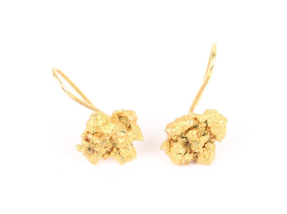 LADIES 22K YELLOW GOLD NUGGET EARRINGS