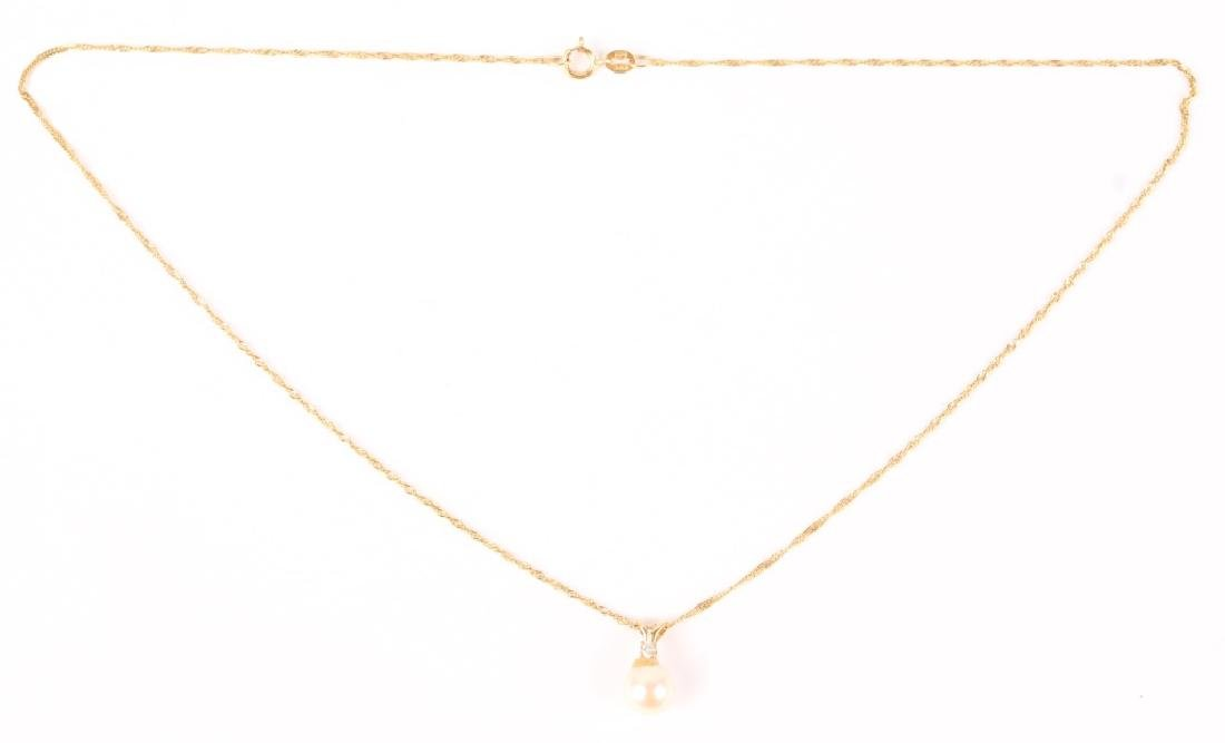 14K YELLOW GOLD PEARL DIAMOND NECKLACE