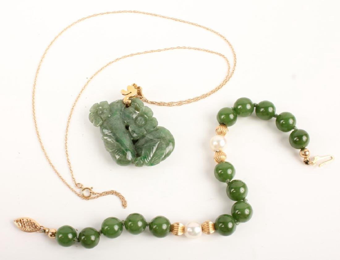 14K YELLOW GOLD & JADE NECKLACE & BRACELET
