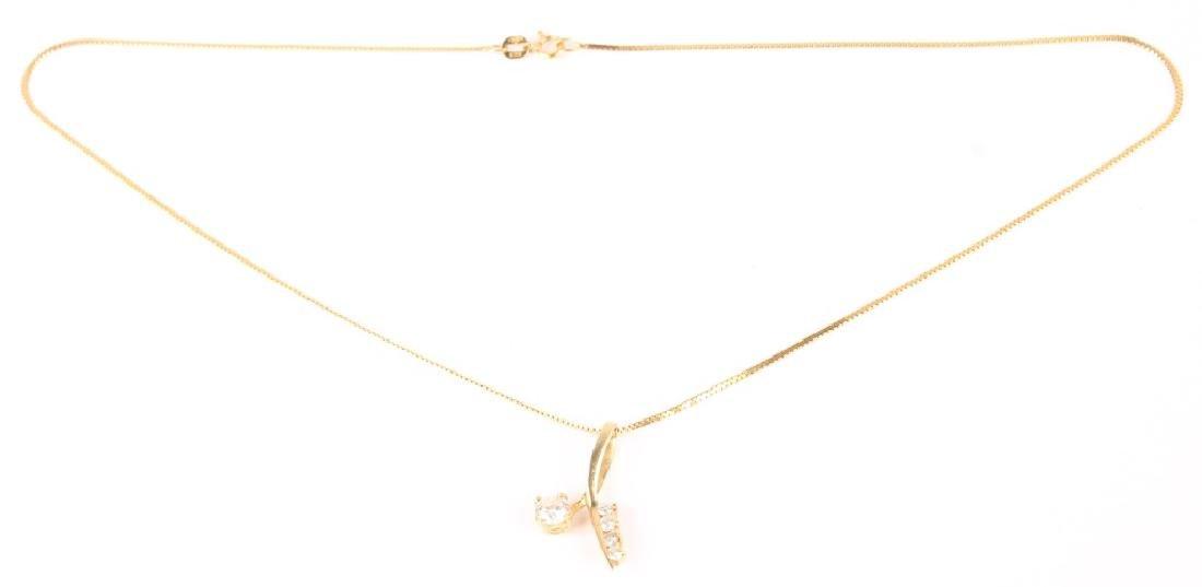 14K GOLD LADIES DIAMOND NECKLACE - 2