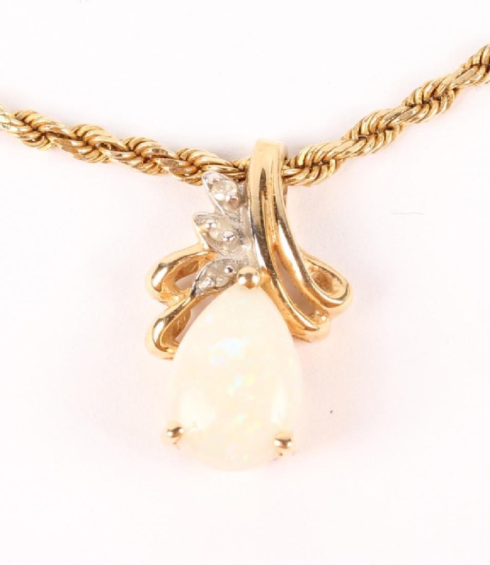OPAL AND DIAMOND PENDANT 14K GOLD NECKLACE