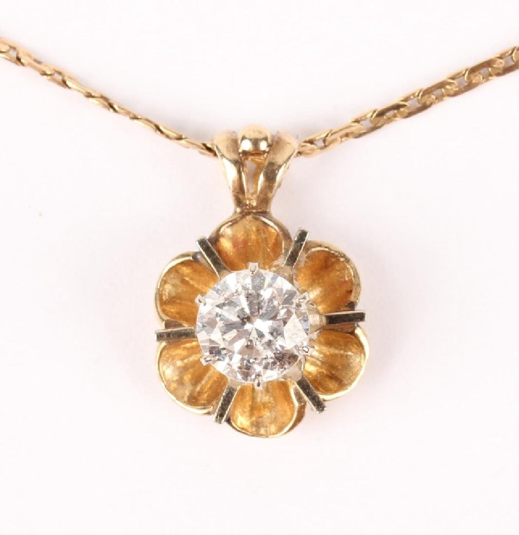 LADIES 14K GOLD FLOWER DIAMOND PENDANT NECKLACE