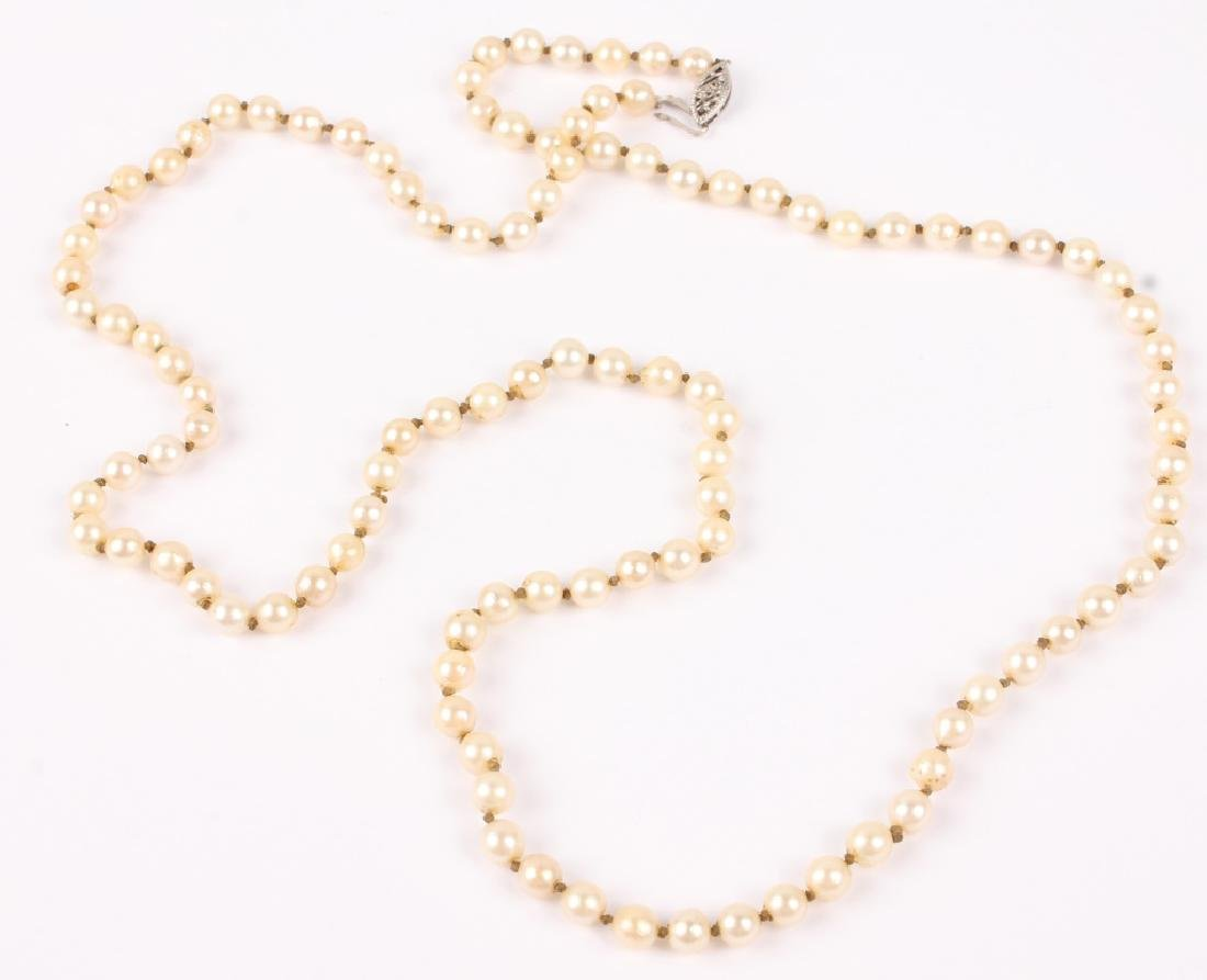 LADIES 10K WHITE GOLD PEARL BEAD NECKLACE