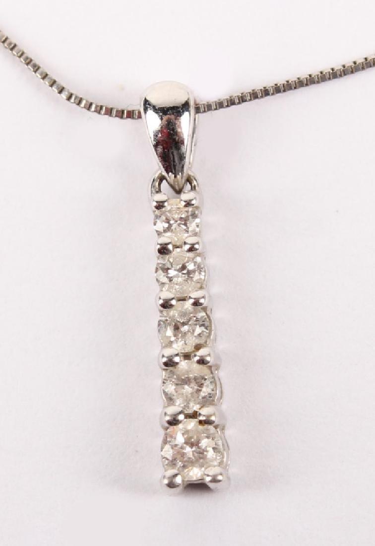 LADIES 10K WHITE GOLD DIAMOND NECKLACE