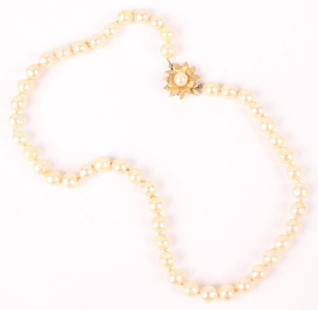 14K GOLD HAGERSTROM & CHAPMAN PEARL NECKLACE