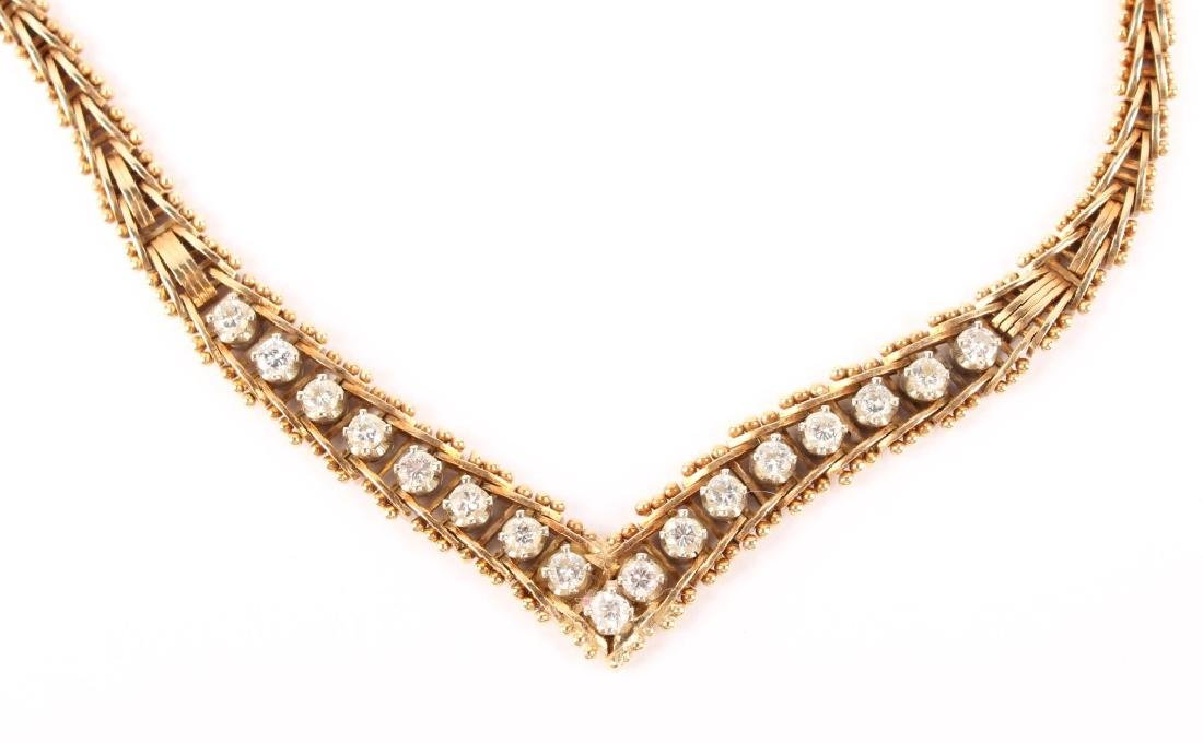 LADIES 14K YELLOW GOLD DIAMOND NECKLACE - 2