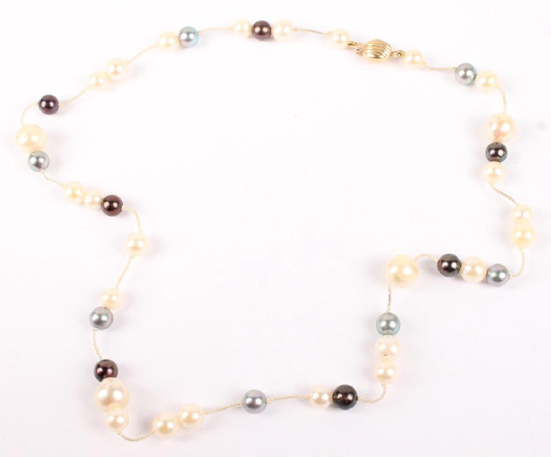 LADIES BLACK & WHITE PEARL 14K GOLD NECKLACE